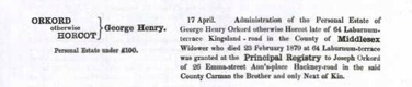George Henry Orkord's estate record