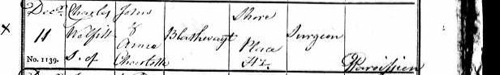 Charles Wellfit Blathwayt's birth record