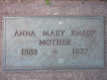 Anna Mary Kenreigh's Headstone